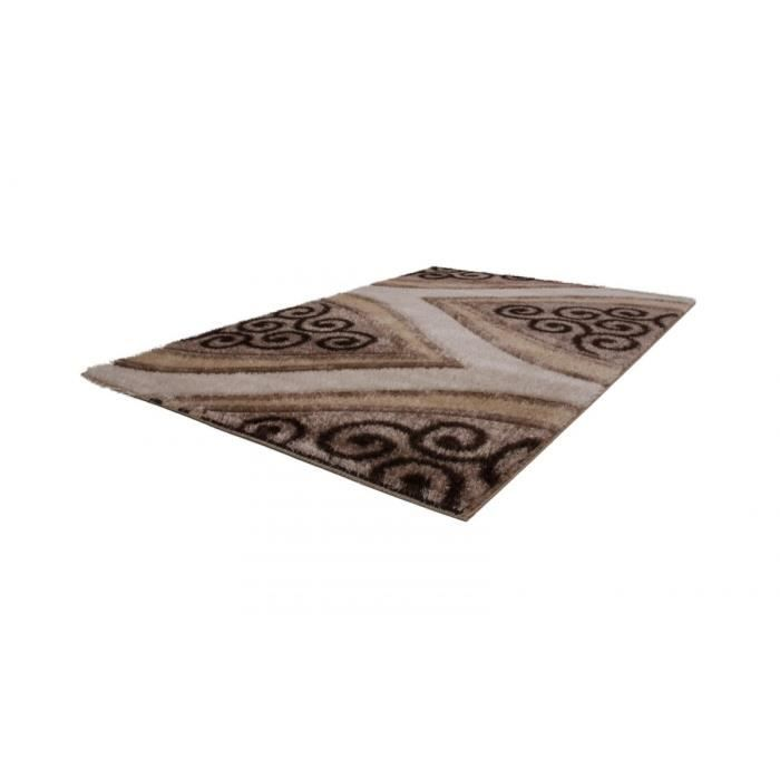 Allotapis tapis shaggy beige brillant pour salon party 120x170cm beige - Tapis shaggy brillant ...