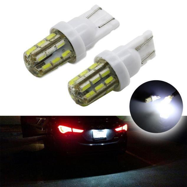 POMILE LED Ampoules de Voiture T10 W5W DC12V 3014 Chipsets LED Veilleuse Canbus Sans Erreur Voiture Lampe,Feu De Stationnement Blanc, 2pc