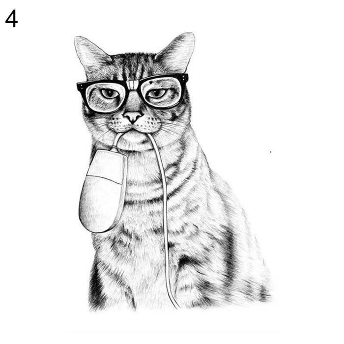 Kawaii Dessin Animé Animal Chat Art Toile Affiche Minimaliste Peinture Kids Room Decor 4 30 40 Cm