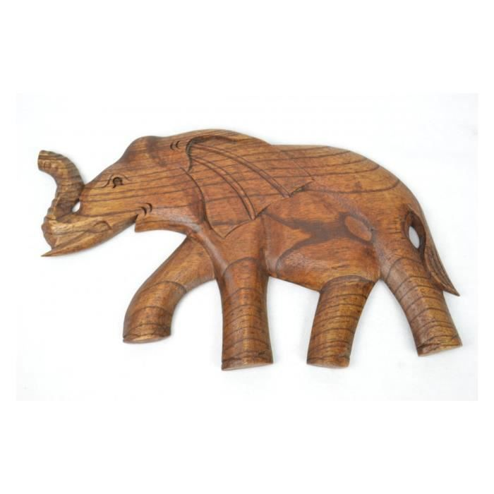D cor mural frise l phant 33cm en bois massif sculpt for Decoration murale africaine