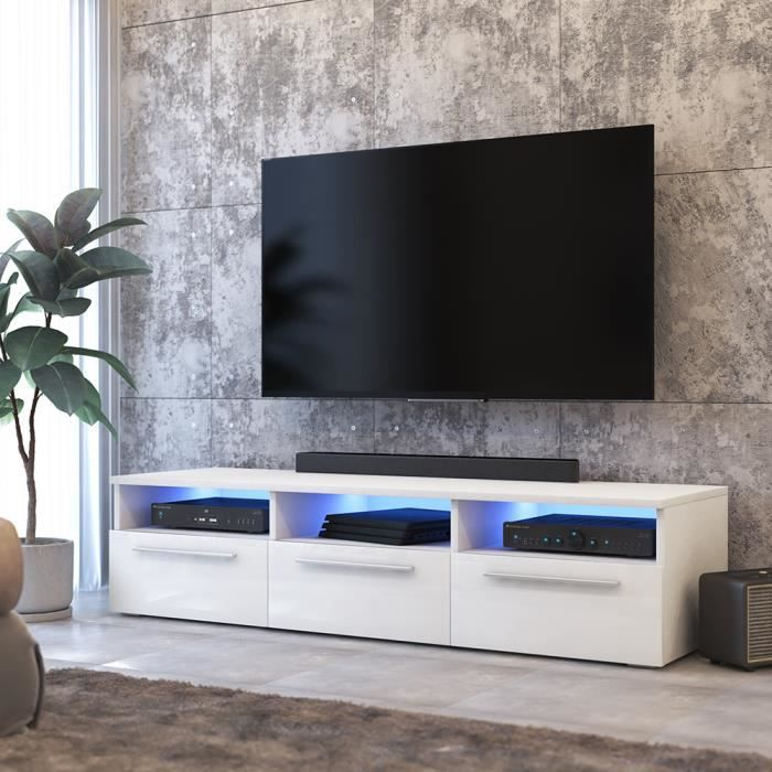 Meuble TV / Meuble salon - LAVELLO - 140 cm - blanc mat / blanc brillant -  avec LED bleue - style moderne