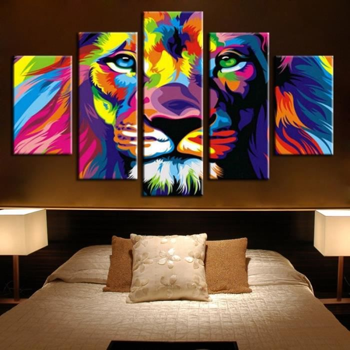 5pcs non cadre no inner framed roi lion animal imprim for Tableau grande taille design