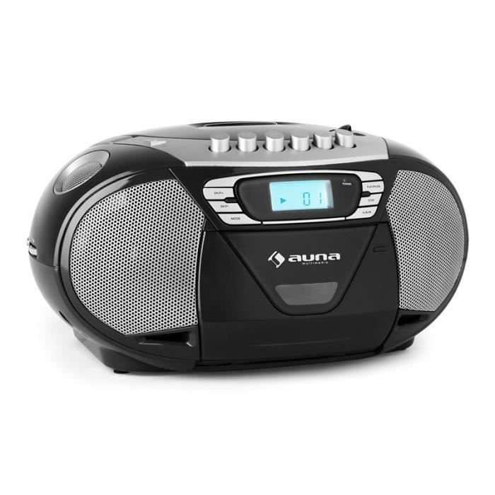 auna krisskross poste radio k7 mobile avec lecteur cd deck cassette enregistreur port usb. Black Bedroom Furniture Sets. Home Design Ideas
