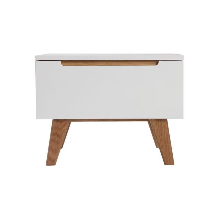 table de chevet scandinave blanc brillant et fr ne melka
