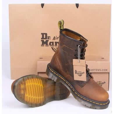 dr martens 1460 boots mixte cuir brun effet used marron achat vente bottine soldes d. Black Bedroom Furniture Sets. Home Design Ideas
