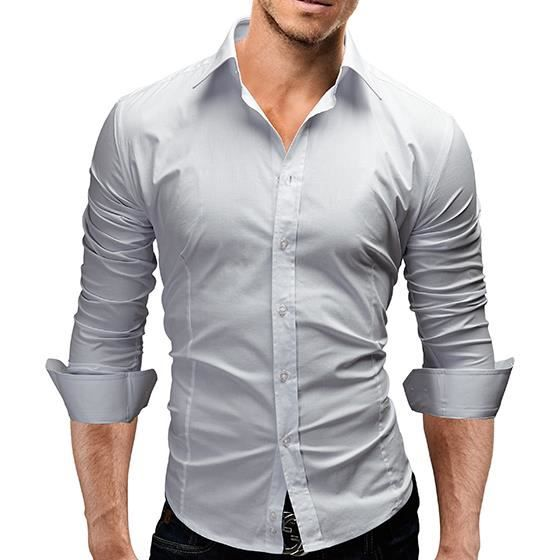 chemise slim fit homme gris achat vente chemise. Black Bedroom Furniture Sets. Home Design Ideas