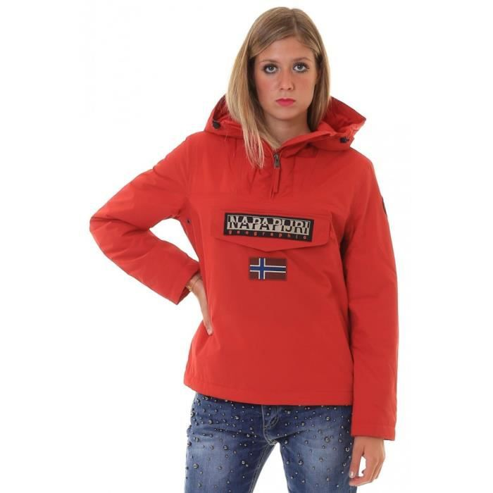Femme Napapijri Rainforest Rouge Jacket Winter Poche qnTCZE8wxC