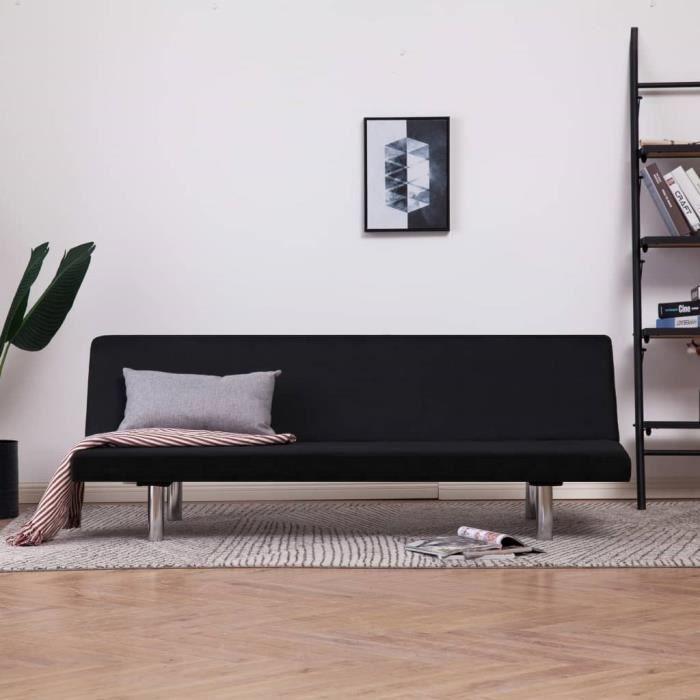 Canape Lit Reglable Canape D Angle Contemporain Noir Polyester
