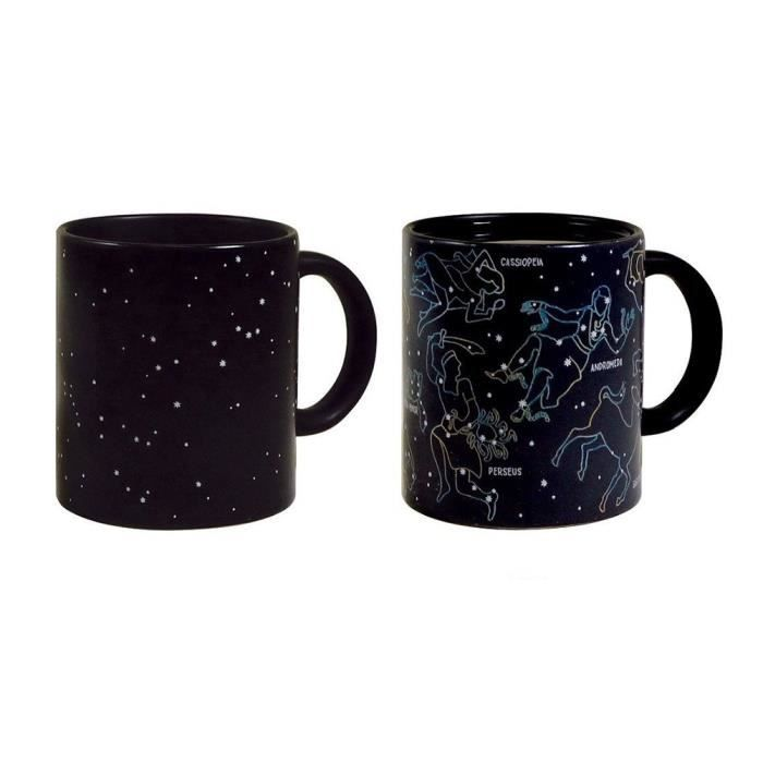 mug tasse c ramique pour th ou caf constellation toile r action thermique noir achat. Black Bedroom Furniture Sets. Home Design Ideas
