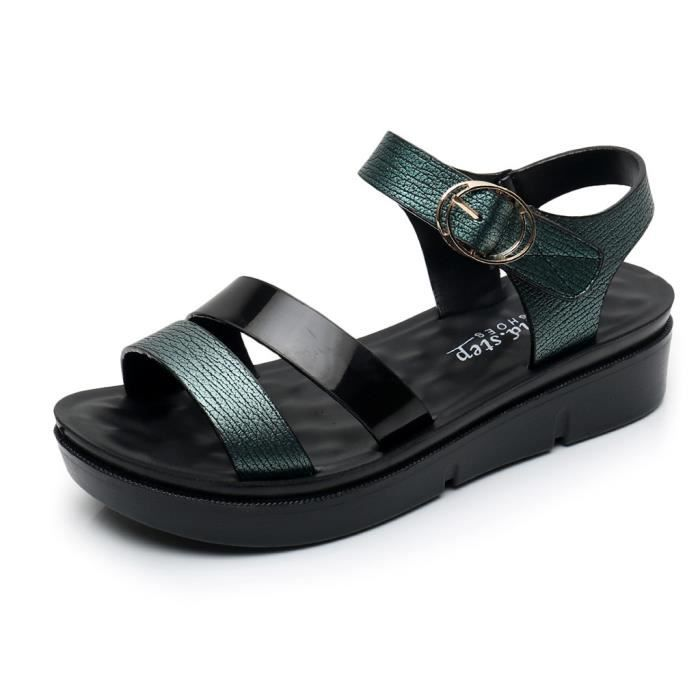 Femmes Femmes d'été Mode Cuir Sandales Chaussures Wedges Confort de grande taille vert