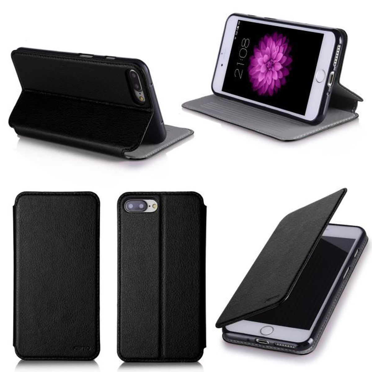 Etui coque apple iphone 7 plus 5 5 noir housse pochette for Housse iphone 7