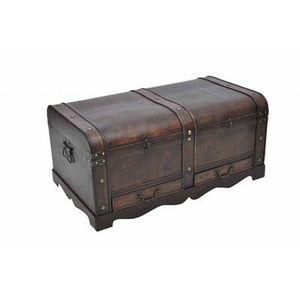COFFRE - MALLE Coffre en bois brun type pirate exotique