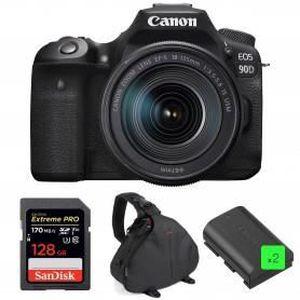 PACK APPAREIL RÉFLEX Canon EOS 90D + 18-135mm IS USM + SanDisk 128GB Ex