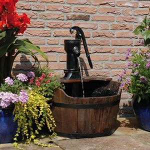 BASSIN D'EXTÉRIEUR fontaine de jardin Forme de tonneau bois