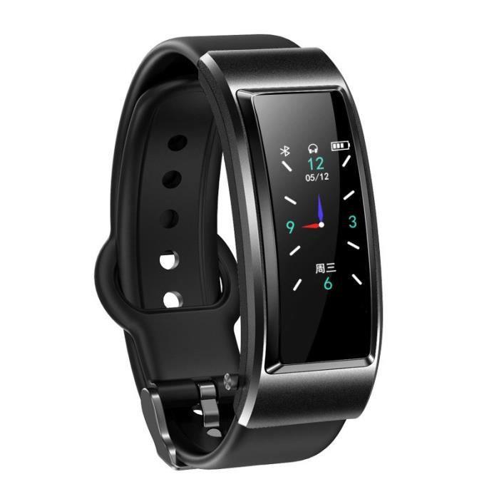 Montre Connectée Homme, Sport Montre étanche, Écouteur Bluetooth Montre en Silicone avec Moniteur de Sommeil Pédomètre Calories,Noir