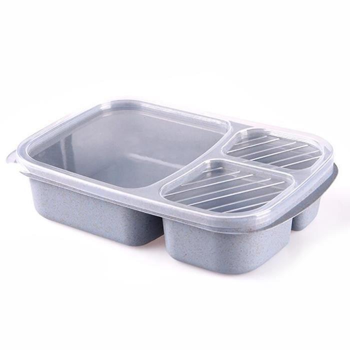 Boîte à lunch boîte à bento 3 compartiments divisés ustensiles de cuisine pour micro-ondes Bleu