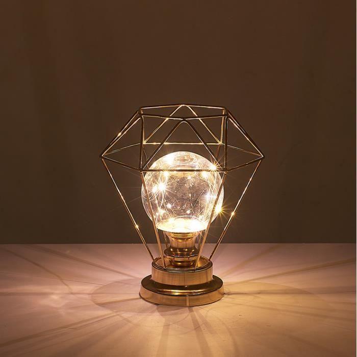 Lampe à en Métal Lampe Rétro Vintage en Fer Forgé à Forme de Diamant
