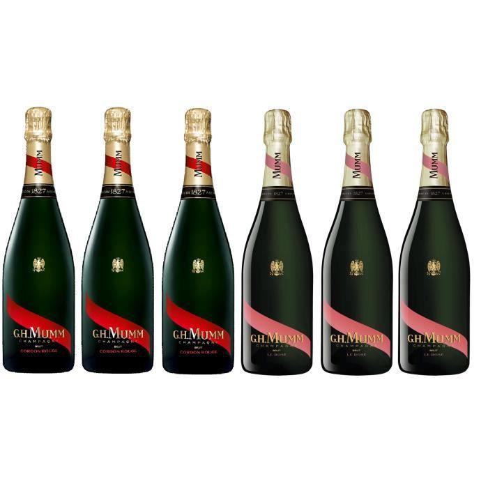 Lot Découverte Champagne Mumm 3 Cordon rouge et 3 Mumm Rosé 75cl