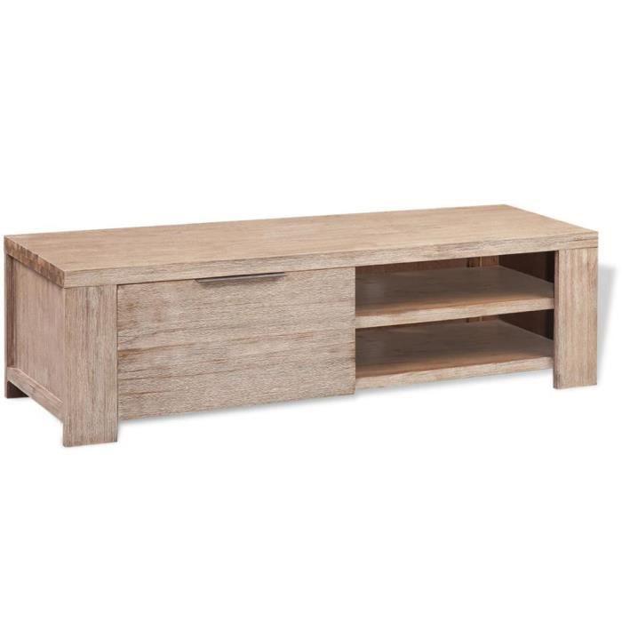 Meuble télé buffet tv télévision design pratique bois d'acacia massif brossé 140 cm 2502128
