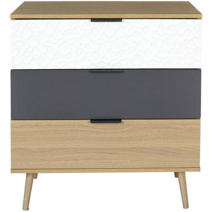 Commode 3 tiroirs modèle Sven - H. 100 cm. - Bois