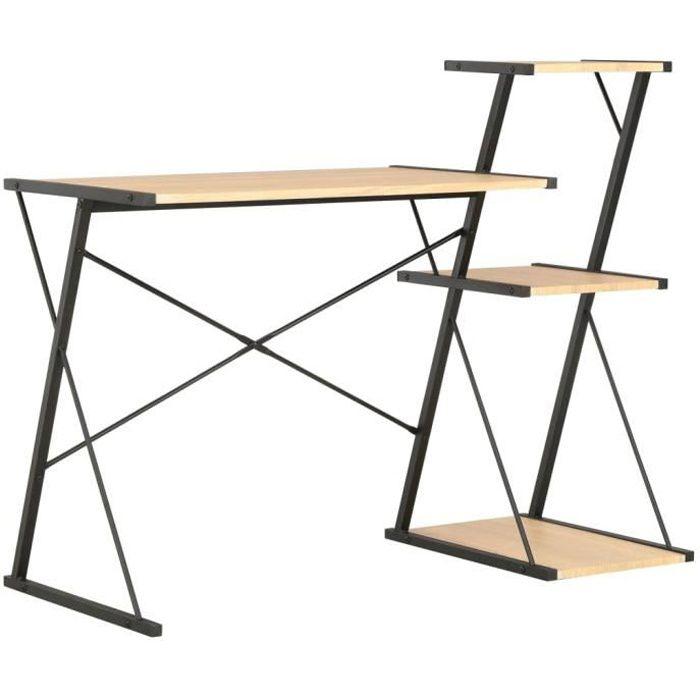 Bureau avec étagère-Table de bureau Étagère de rangement Bureau informatique design industriel Noir et chêne 116x50x93 cm