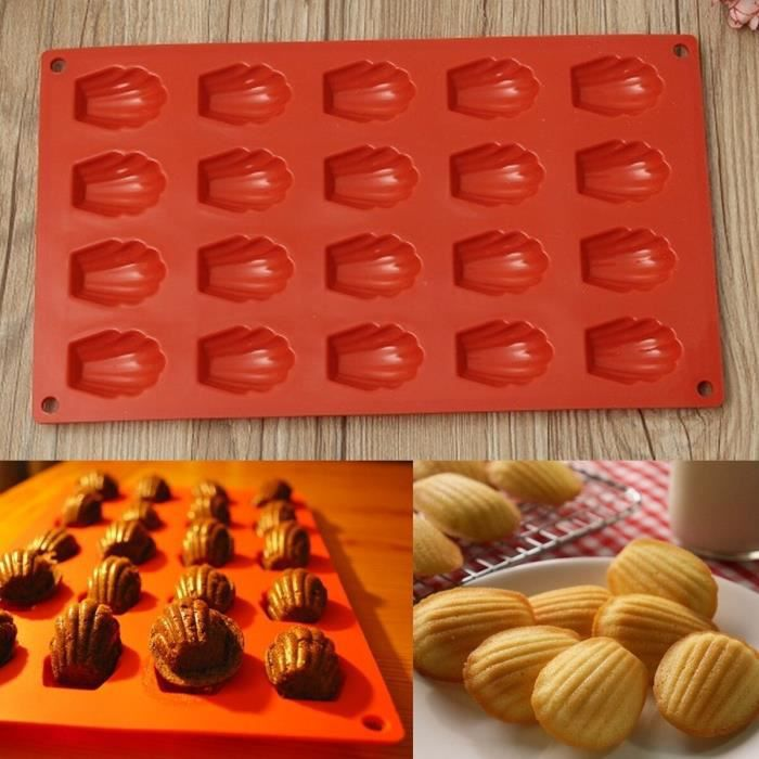 Moule de cuisson à 20 cavités bricolage ustensiles de cuisine, Mini coquillages Madeleine, poêle à gâteau en Silicone, p*TR5604