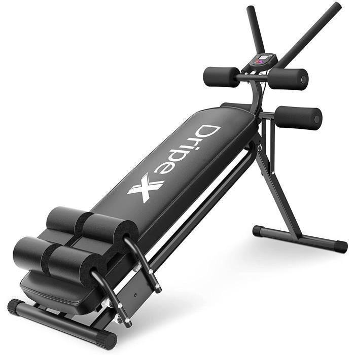 Banc Musculation Abdominaux à Rouleaux - Fitness Multifonctions, Appareil d'Exercice d'Abdos (situps) Pliable pour la Maison