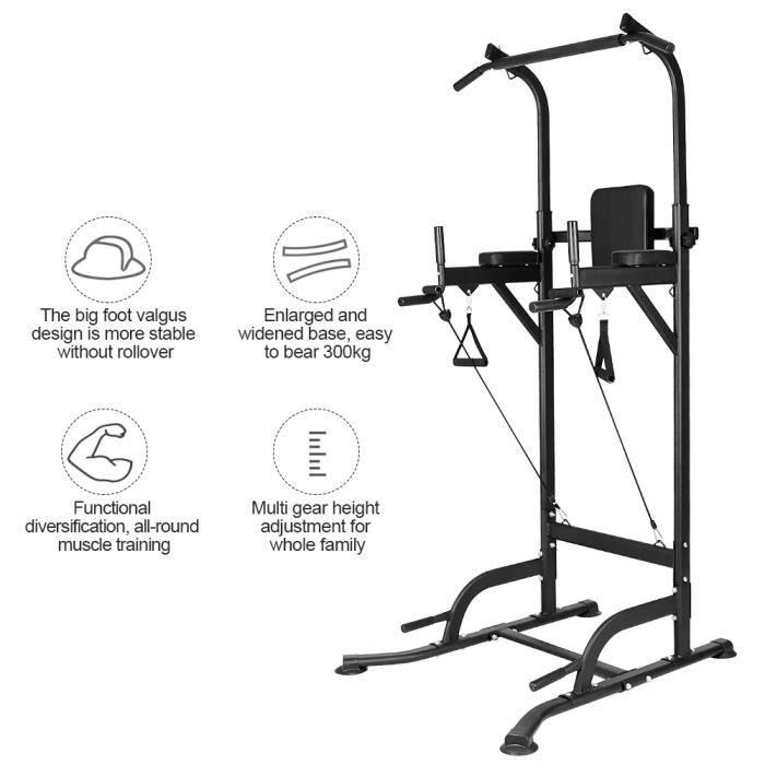 {Yeehoo}Pullup Barre de traction ajustable musculation dips station - Power Tower Barre de Traction pour Musculation à Domicile,15kg