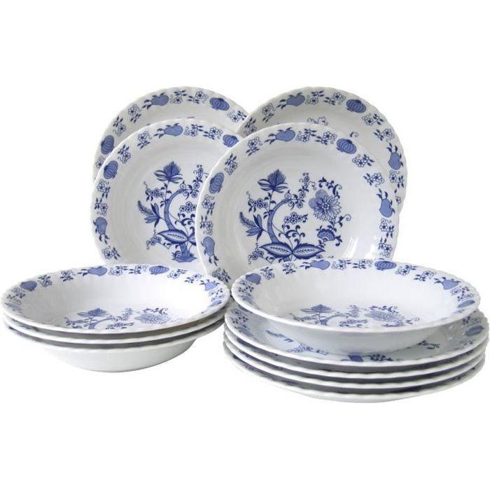 Service de table en porcelaine motif floral bleu - Ivona - 12 pièces