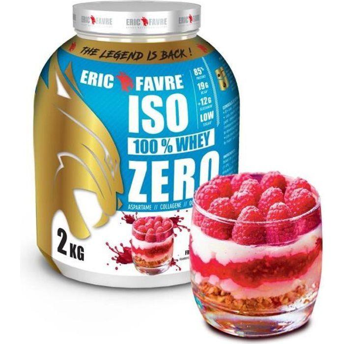 ISO WHEY ZERO 100% Pure Whey Protéine Isolate (Framboisier) - Prise de Masse - 2kg - Laboratoire Français Eric Favre