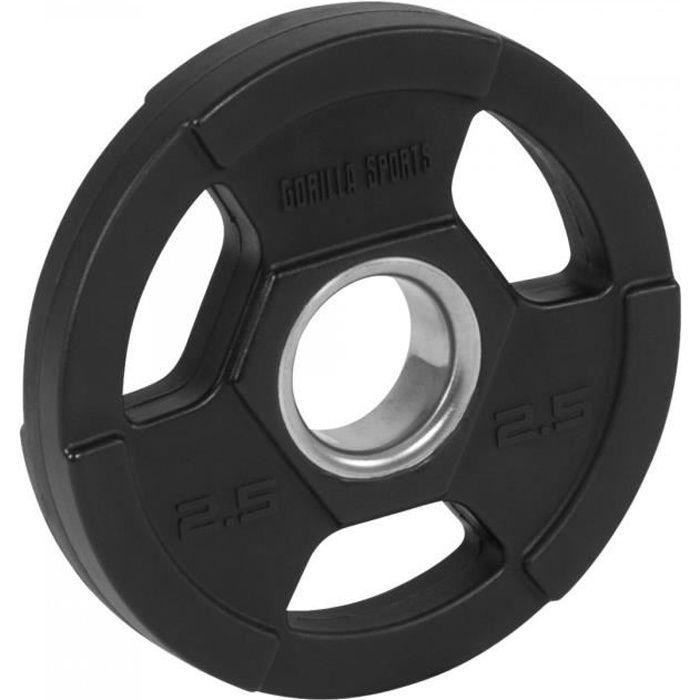 Gorilla Sports - Poids disques olympiques en fonte rêvetement caoutchouc avec anneau métalliquede 51mm - de 12,5 à 25 kg - 2.5kg
