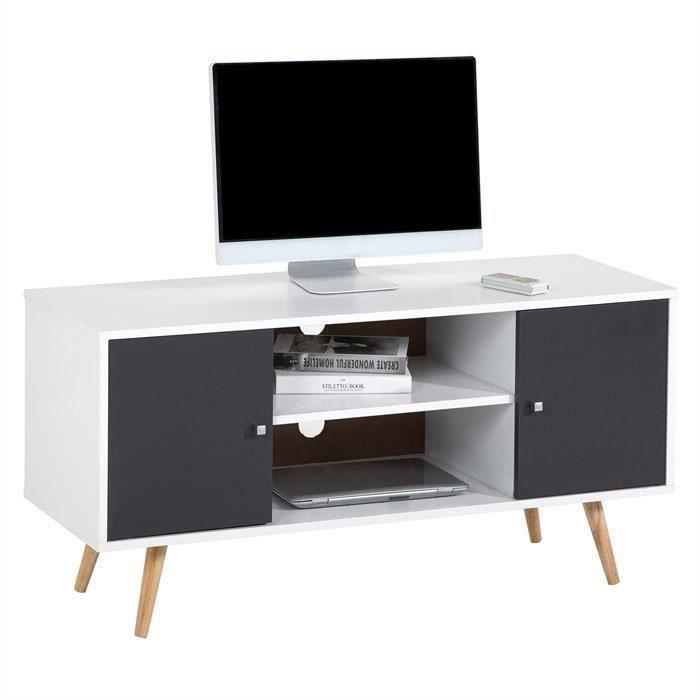 Meuble TV MURCIA banc télé 110 cm style scandinave design vintage avec 2 niches et 2 portes, décor blanc mat et gris anthracite