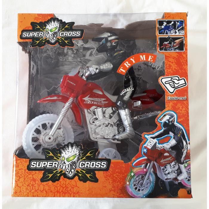 IMAGIN SUPER CROSS Moto Trial avec pilote 3 ans et + jouet jeux figurine véhicule moto sons et lumières