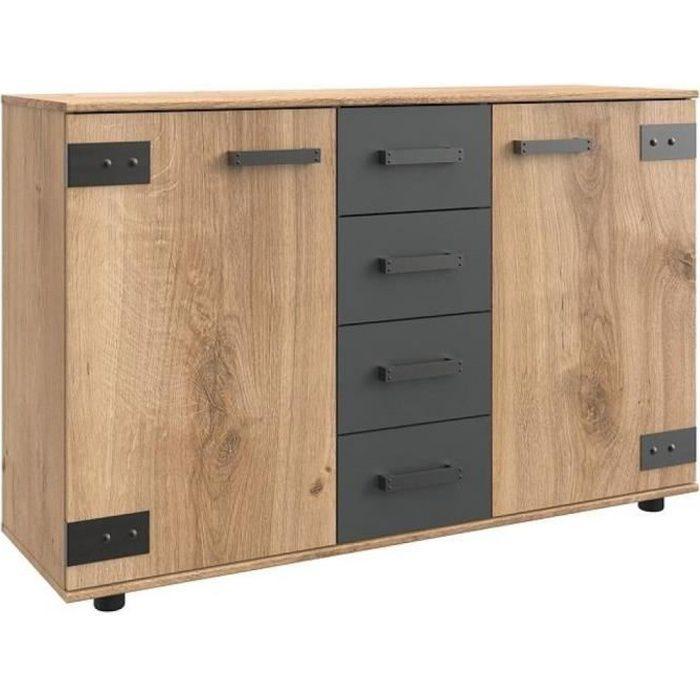 Commode Buffet VERNON style industriel chêne poutre tiroirs graphite bi color Metal Inside75