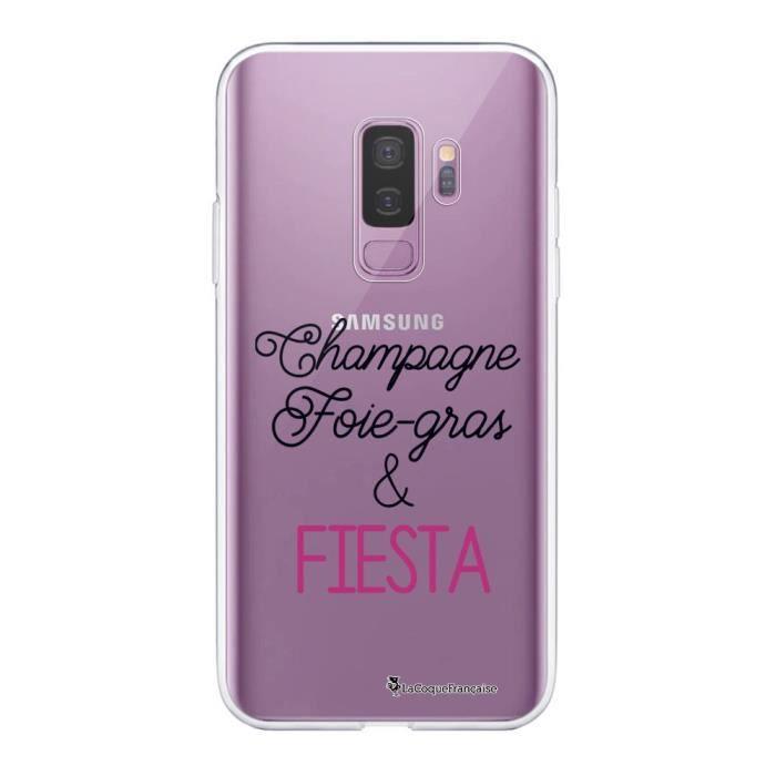 Coque Samsung Galaxy S9 Plus 360 intégrale transparente Champagne Foie gras et Fiesta Ecriture Tendance Design La Coque Francaise