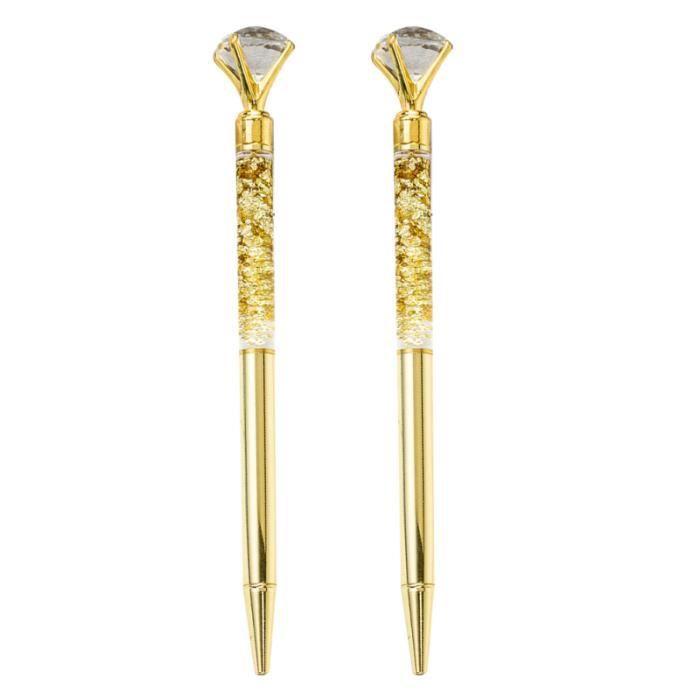 2pcs stylo à bille en métal verre cristal mousseux stylos à roulante pour bureau d'école STYLO - PARURE DE STYLO - RECHARGE