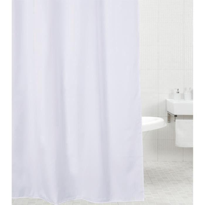 Rideau de douche Blanc 180 x 200 cm - de haute qualité - 12 anneaux inclus - imperméable - effet anti-moisissures