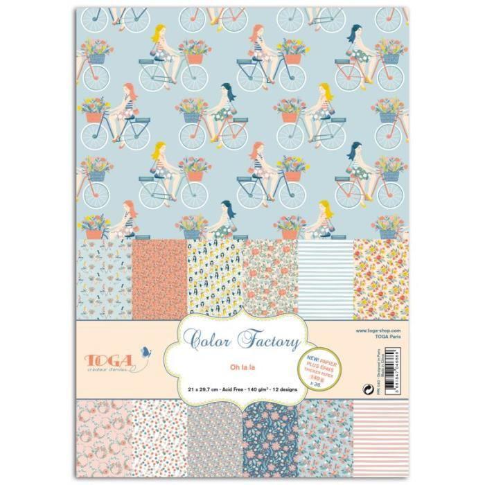 Assortiment de 36 papiers décorés A4 'Toga - Color Factory ' Oh La La Fleuri