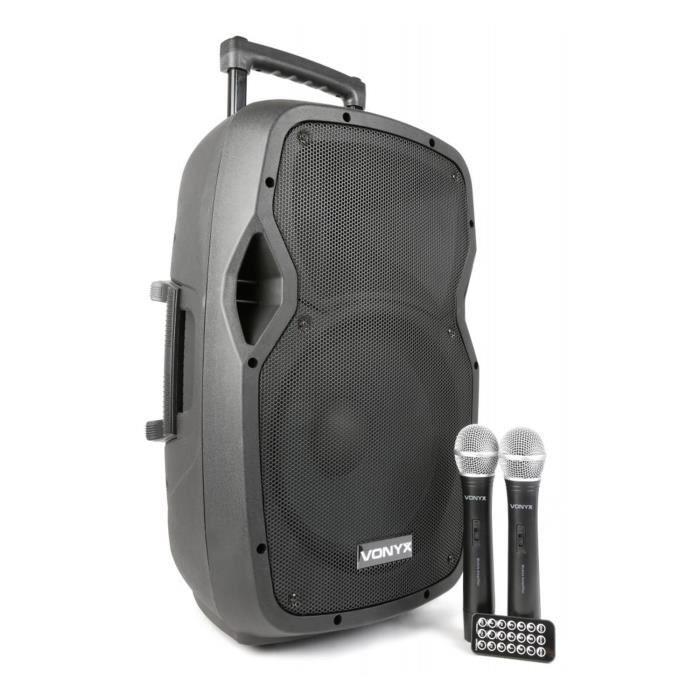 Vonyx AP1200PA - Enceinte Sono Portable avec micros sans fil, 600W, BT/USB/SD/MP3