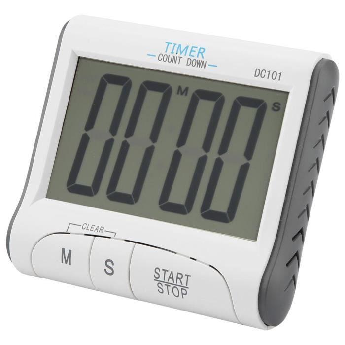 Grand Écran Cuisine LCD Numérique Minuteur Compte à Rebours Horloge Fort Alarme