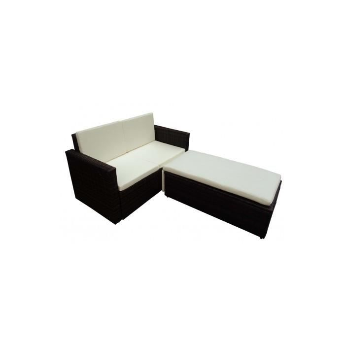 canap de jardin syst me lit en r sine tress e chocolat achat vente canap sofa divan. Black Bedroom Furniture Sets. Home Design Ideas