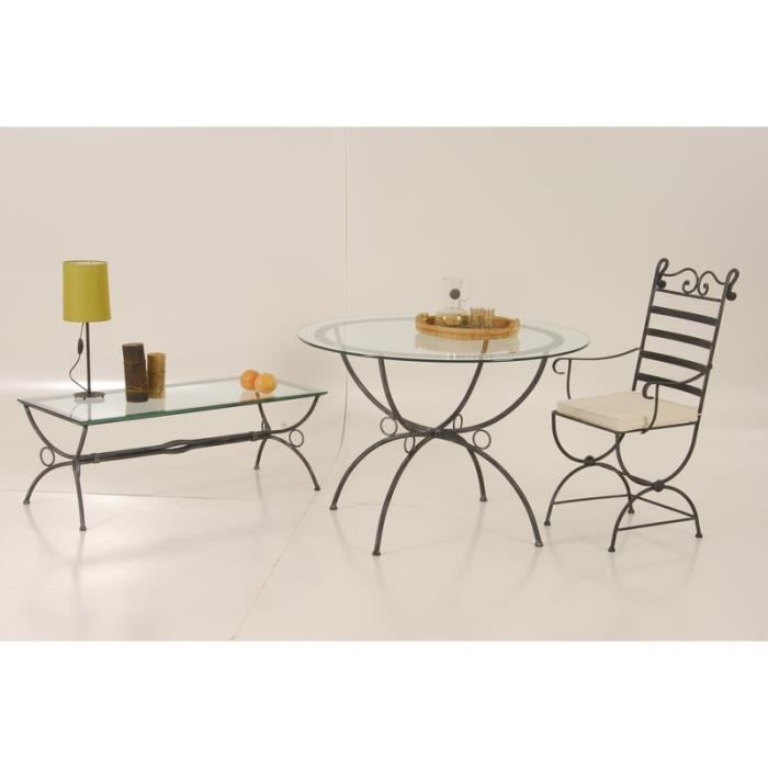 Table ronde fer forg et plateau verre vogue meuble for Table basse fer forge plateau verre