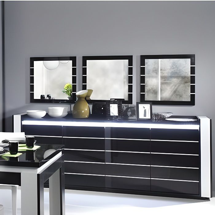 buffet lina noir et blanc avec led 3 miroirs achat. Black Bedroom Furniture Sets. Home Design Ideas