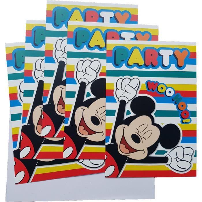 Set 5 Carton D Invitation Avec Enveloppe Disney Mickey Mouse Multicolore Carte Anniversaire 592 Achat Vente Faire Part Invitation Set 5 Carton D Invitation Cdiscount