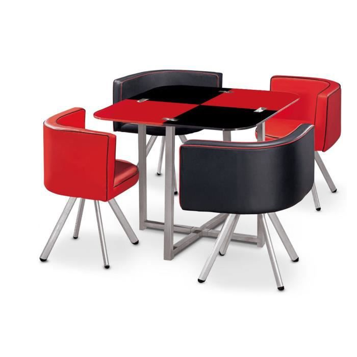 Table manger corner 90 cm rouge noir en verre 4 chaises for Table a manger noir