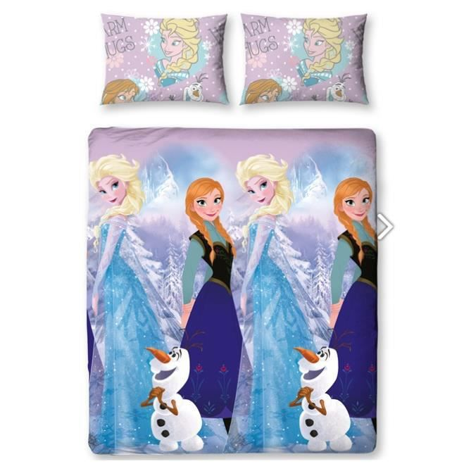 parure de lit double reine des neiges elsa disney achat vente parure de drap soldes d s. Black Bedroom Furniture Sets. Home Design Ideas