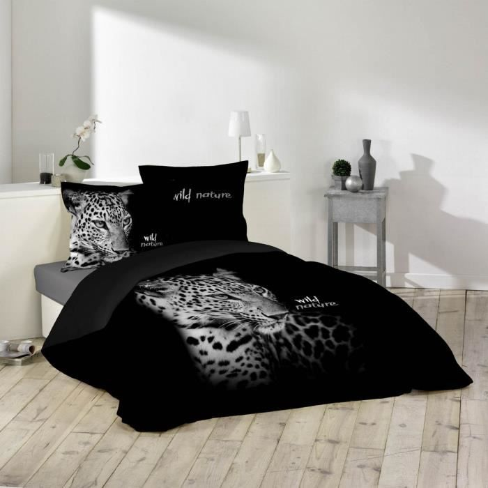 housse de couette et deux taies 240 cm wild nature. Black Bedroom Furniture Sets. Home Design Ideas