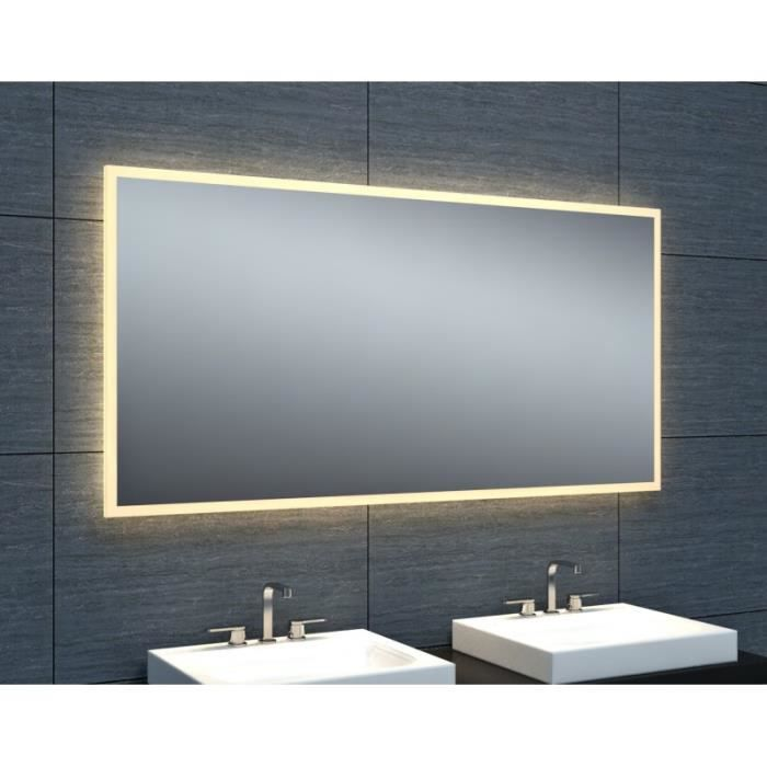 miroir salle de bain avec eclairage 120 achat vente. Black Bedroom Furniture Sets. Home Design Ideas