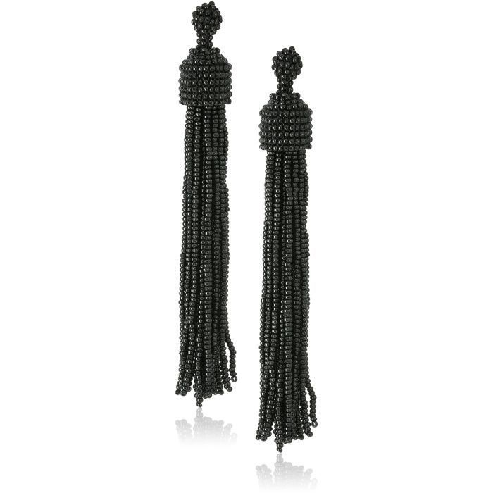 Kenneth Jay Lane Womens Black Seed Bead Tassel Direct Post Earrings XR31G