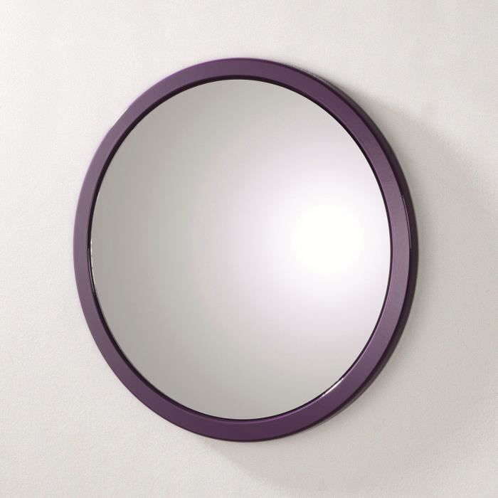miroir mural tom rond 40 cm coloris violet achat vente miroir pvc et mdf cdiscount. Black Bedroom Furniture Sets. Home Design Ideas